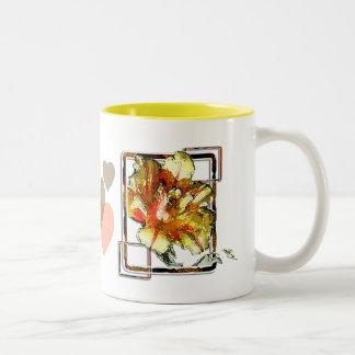 Tulipán doble: Amarillo y rojo Taza
