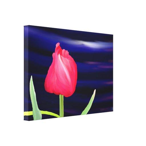 Tulipán en el pote azul impresion de lienzo