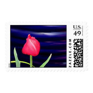 Tulipán en el pote azul sello