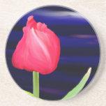 Tulipán en el práctico de costa azul del pote posavasos personalizados