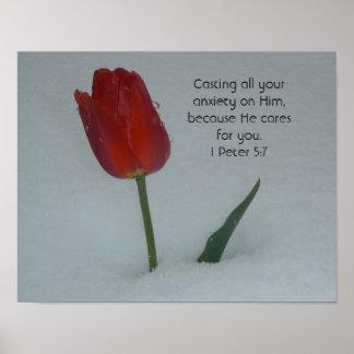 Tulipán en la nieve póster