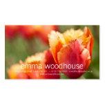 Tulipán franjado naranja ardiente tarjetas de visita