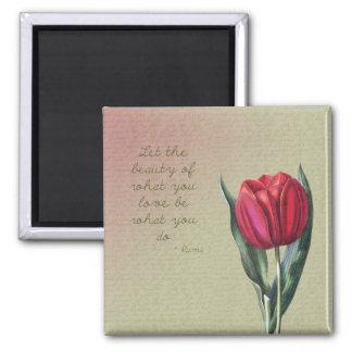 Tulipán inspirado de la belleza imán cuadrado