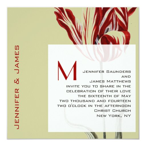 """Tulipán moderno de las invitaciones del boda del invitación 5.25"""" x 5.25"""""""