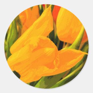 Tulipán Pegatina Redonda