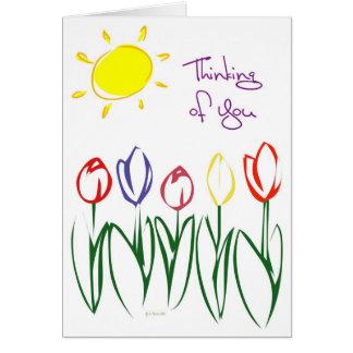 Tulipán-Pensamiento bosquejado Tarjeta De Felicitación