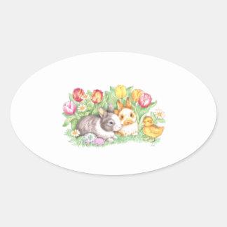 Tulipán, polluelo, y pegatina del conejito de