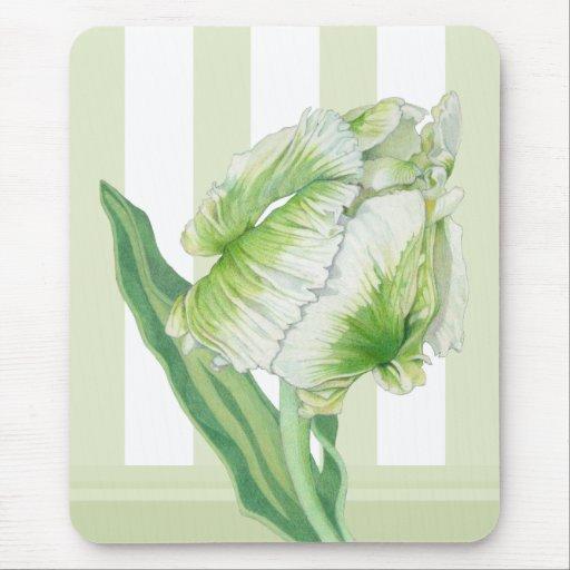 Tulipán poner crema verde Mousepad Tapetes De Ratones