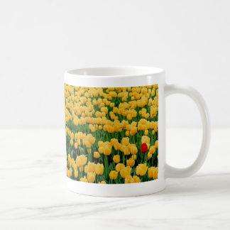 Tulipán rojo en un campo amarillo del tulipán taza básica blanca