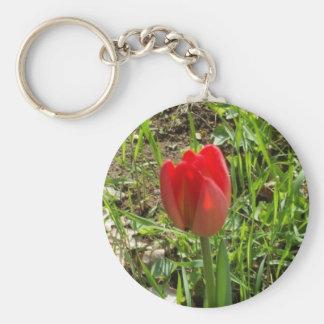 Tulipán rojo llavero redondo tipo pin
