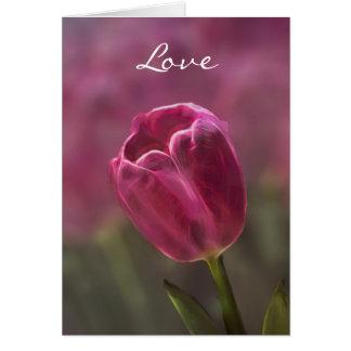 Tulipán rosado Bokeh Tarjeta De Felicitación