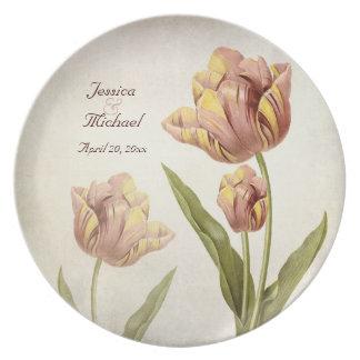 Tulipán rosado del loro personalizado casando la p plato de cena