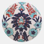 TULIPÁN turco de la teja del otomano antiguo del V Etiqueta Redonda