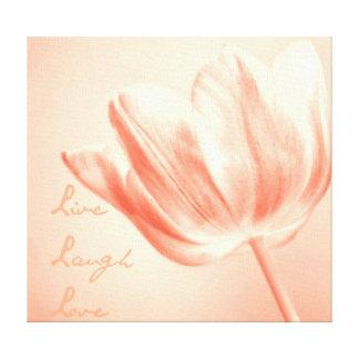 Tulipán vivo, risa, amor del melocotón impresiones de lienzo