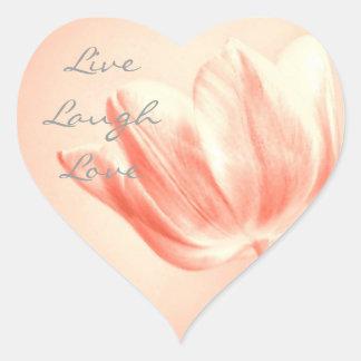 Tulipán vivo, risa, amor del melocotón pegatina en forma de corazón