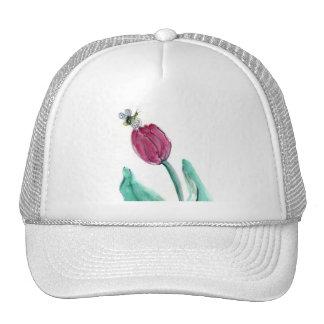 ¡Tulipán y abeja rojos - su primavera! Sumi-e en Gorras