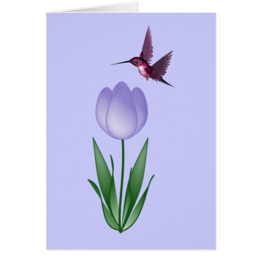 Tulipán y colibrí tarjetón