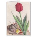 tulipán y ratón tarjeta