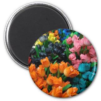 Tulipanes a montones imán redondo 5 cm