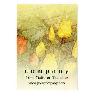 Tulipanes amarillo-naranja tarjetas de visita grandes