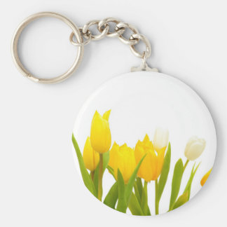 Tulipanes amarillos llavero redondo tipo pin