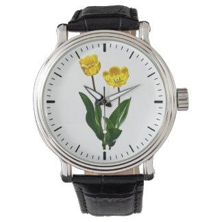 Tulipanes amarillos retroiluminados reloj