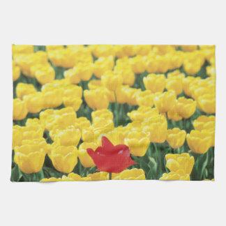 Tulipanes amarillos y rojos toalla de mano