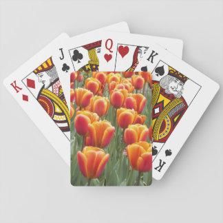Tulipanes anaranjados florales cartas de juego