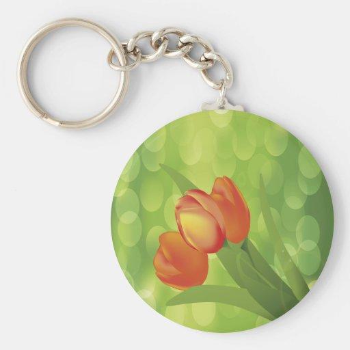 Tulipanes anaranjados llavero