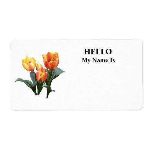 Tulipanes anaranjados y amarillos etiqueta de envío