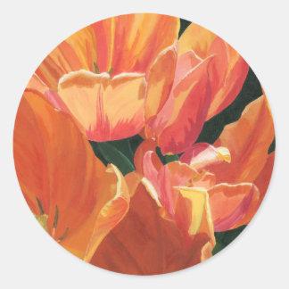 Tulipanes anaranjados y amarillos pegatinas