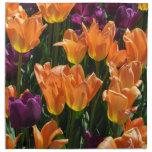 Tulipanes anaranjados y púrpuras servilleta