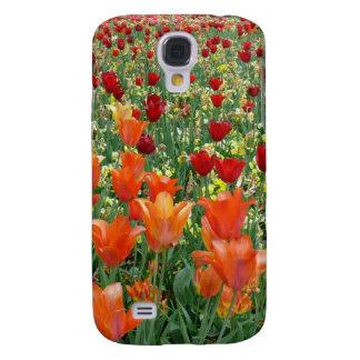 Tulipanes anaranjados y rojos funda para galaxy s4