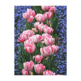 Tulipanes Arte-Rosados de la lona Impresiones En Lienzo Estiradas