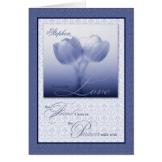 Tulipanes azules del aniversario de boda del socio tarjetas
