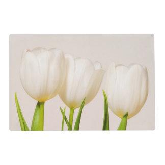 Tulipanes blancos contra un fondo blanco, salvamanteles