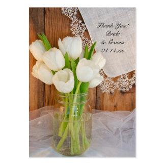 Tulipanes blancos rústicos en etiqueta del favor tarjetas de visita grandes