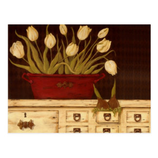 tulipanes blancos tarjeta postal