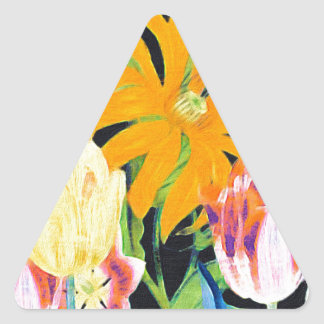 Tulipanes botánicos del vintage amarillo pegatina triangular