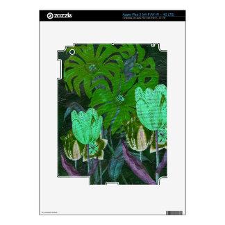 Tulipanes botánicos del vintage verde de la iPad 3 pegatina skin