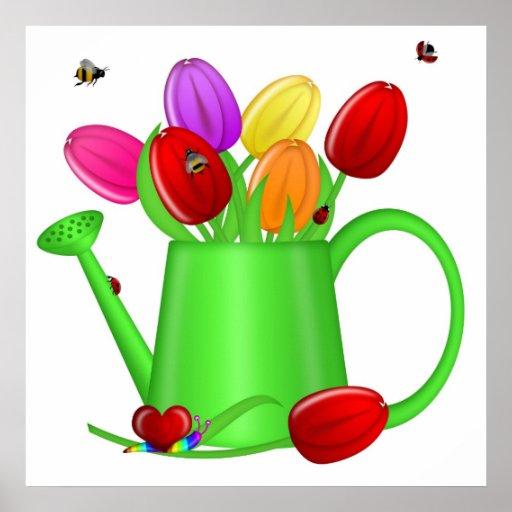 Tulipanes coloridos con las abejas, mariquitas, póster