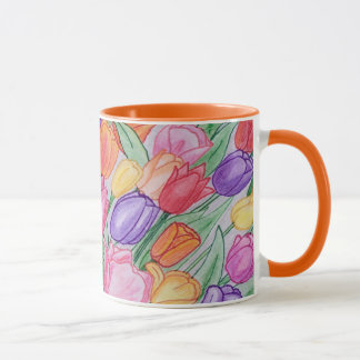 Tulipanes coloridos que dibujan la obra clásica taza