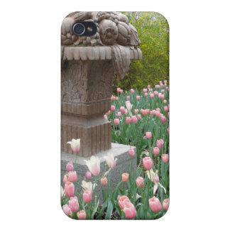 Tulipanes con la escultura del cuenco de fruta iPhone 4/4S fundas