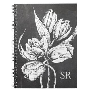 Tulipanes cones monograma elegantes de la pizarra cuadernos