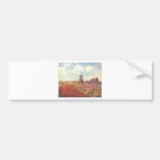 Tulipanes de Claude Monet en Holanda Pegatina De Parachoque