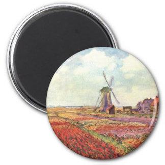 Tulipanes de Claude Monet en Holanda Imán Redondo 5 Cm