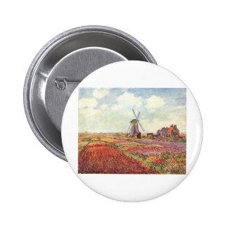 Tulipanes de Claude Monet en Holanda Pin Redondo De 2 Pulgadas