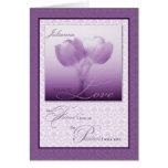 Tulipanes de encargo de la púrpura del cumpleaños  tarjetas