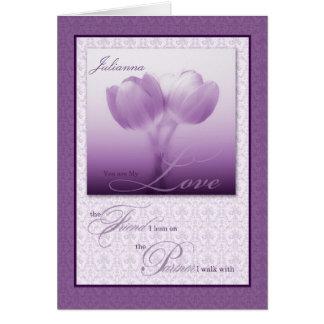 Tulipanes de encargo de la púrpura del cumpleaños tarjeta de felicitación