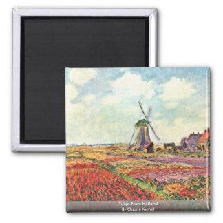 Tulipanes de Holanda de Claude Monet Imán Cuadrado